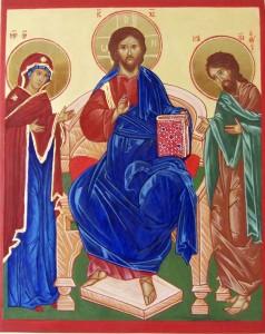 Ikona deesis. Jezus tronujący z Matką Boską i Janem Chrzcicielem.